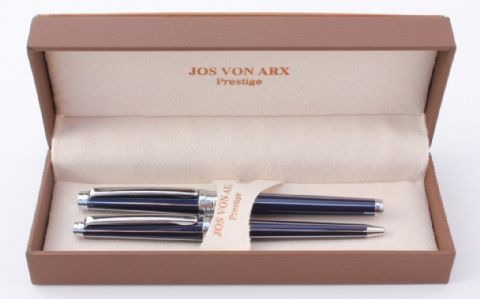 Jos Von Arx Prestige WR06 Ballpoint and Rollerball Lined Blue Lacquer Pen Set